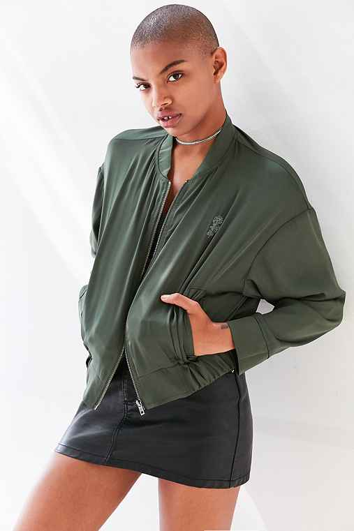 Silence + Noise Cleo Satin Bomber Jacket,GREEN,L