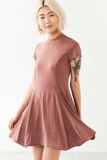 Silence + Noise Violetta Cupro Mock Neck Mini Dress