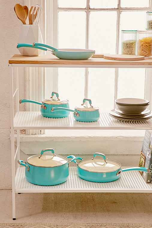 10-Piece Pop Teal Cookware Set,TURQUOISE,ONE SIZE