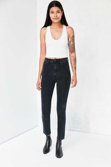 AGOLDE Roxanne High-Rise Skinny Jean - Washed Black