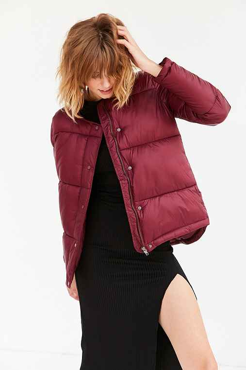 Silence + Noise Storm Puffer Jacket,MAROON,S