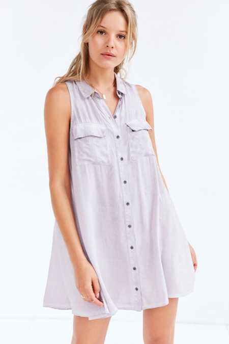 Silence + Noise Billie Washed Mini Shirt Dress