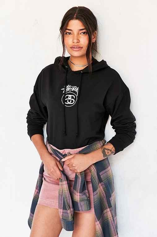 Stussy Stock Link Hoodie Sweatshirt,BLACK,L