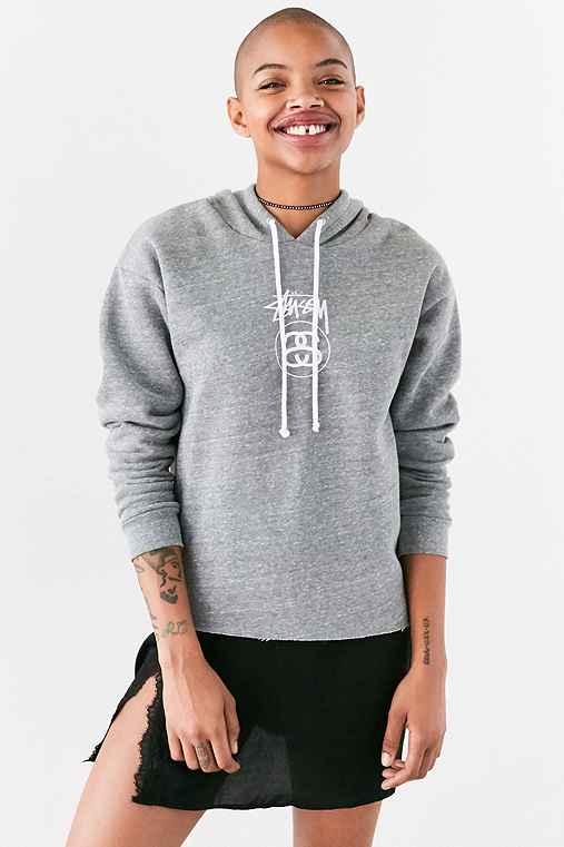 Stussy Stock Link Hoodie Sweatshirt,GREY,M