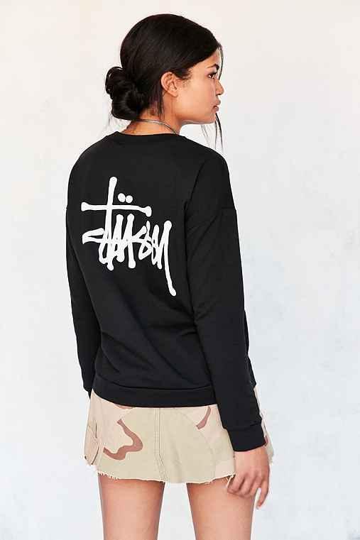 Stussy Basic Logo Pullover Sweatshirt,BLACK,M