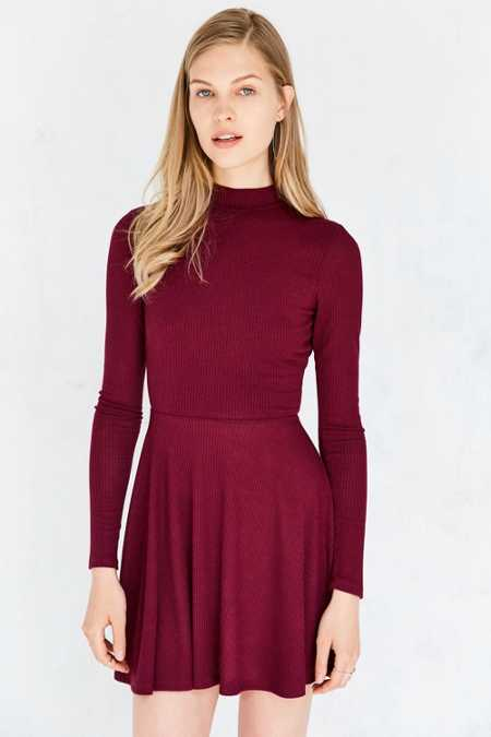 Silence + Noise Open-Back Mock Neck Mini Dress