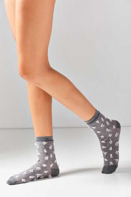 Out From Under Fuzzy Polka Dot Crew Sock