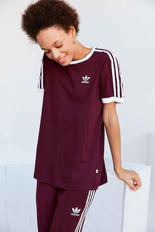 adidas Originals Adicolor 3-Stripe Ringer Tee,MAROON,XS