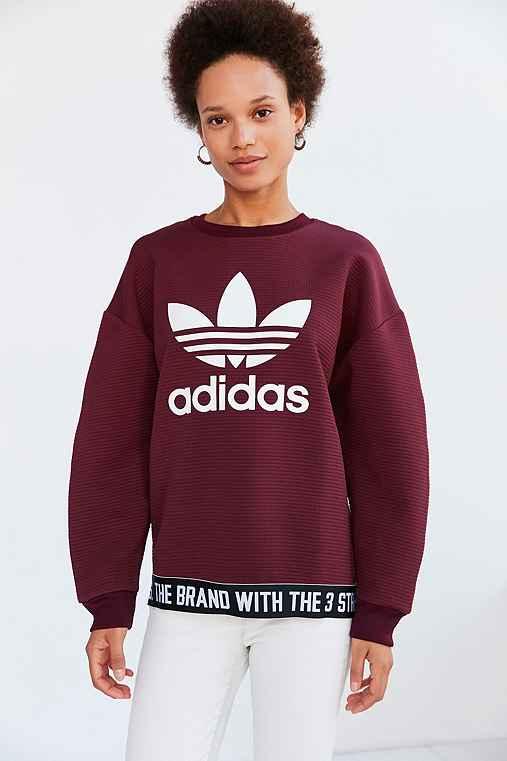 adidas Originals Adicolor Trefoil Pullover Sweatshirt,MAROON,M
