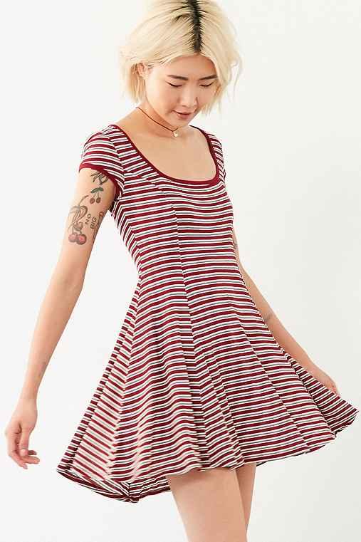 Cooperative Gilly Rib Square-Neck Mini Dress,RED MULTI,S