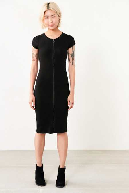 Silence + Noise Zada Zip-Up Bodycon Midi Dress