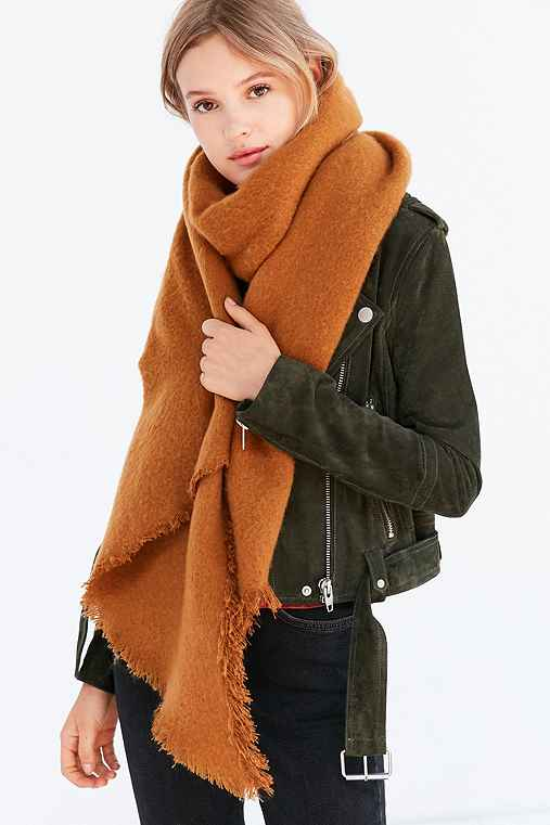 Nubby Oversized Blanket Scarf,BROWN,ONE SIZE