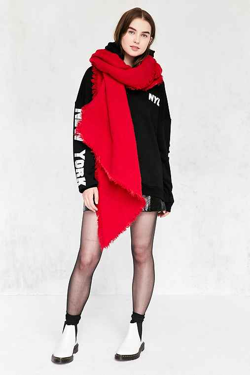 Nubby Oversized Blanket Scarf,RED,ONE SIZE