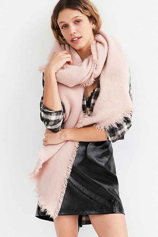 Nubby Oversized Blanket Scarf,PINK,ONE SIZE