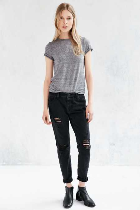BDG Slim Boyfriend Jean - Washed Black Slash