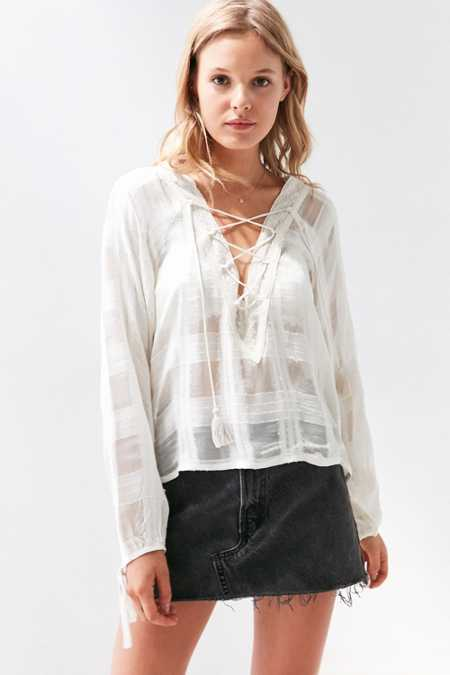 Ecote Neverland Lace-Up Blouse