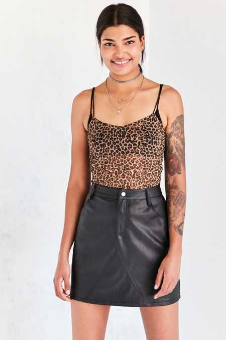 Silence + Noise Vegan Leather A-Line Mini Skirt