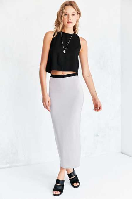 Silence + Noise Shark Fin Bodycon Midi Skirt