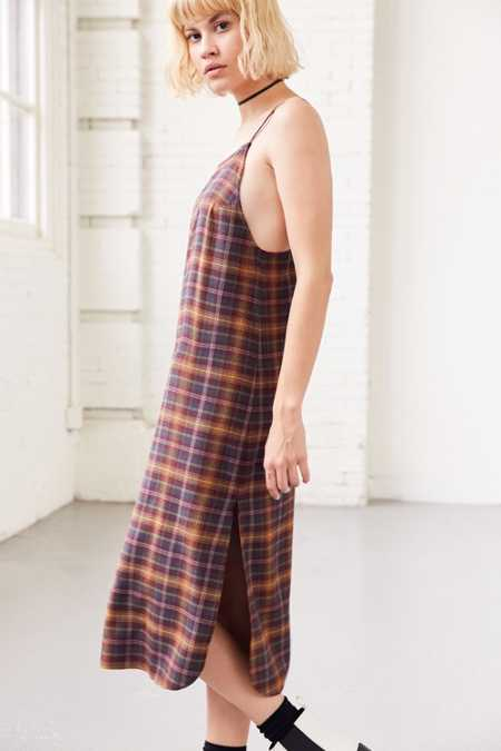Silence + Noise Paige Plaid Midi Slip Dress