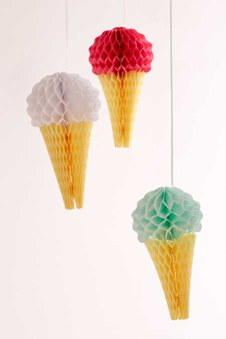 Ice Cream Honeycomb Party Decor Set