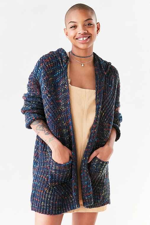Ecote Rainbow Stitch Hooded Cardigan,BLUE MULTI,M/L