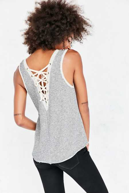 Ecote Textured Lace-Up Back Tank Top