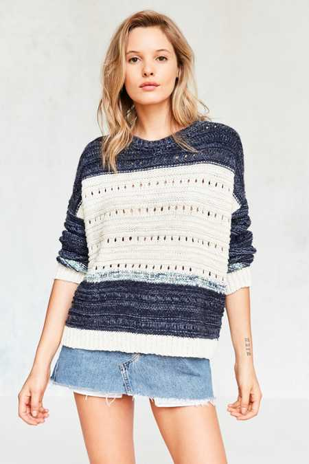 Ecote Mixed Knit Colorblock Pullover Sweater