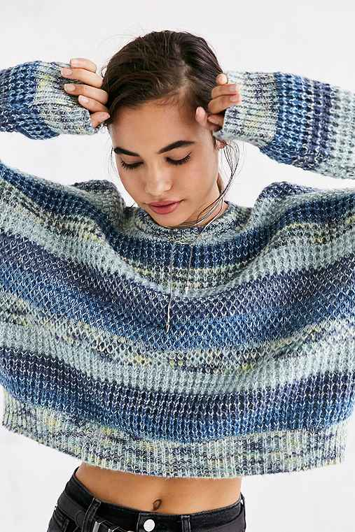 Ecote Neon Space-Dye Stripe Pullover Sweater,BLUE MULTI,L