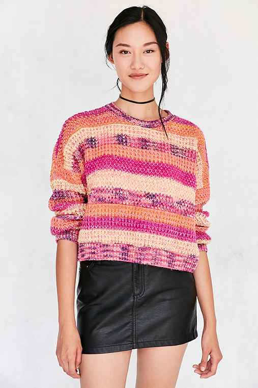 Ecote Neon Space-Dye Stripe Pullover Sweater,YELLOW,M