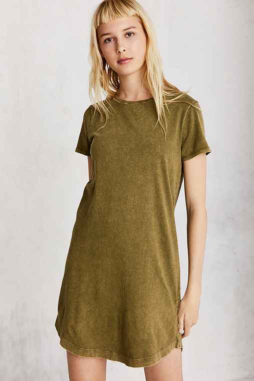 BDG Morisette T-Shirt Dress,OLIVE,XS