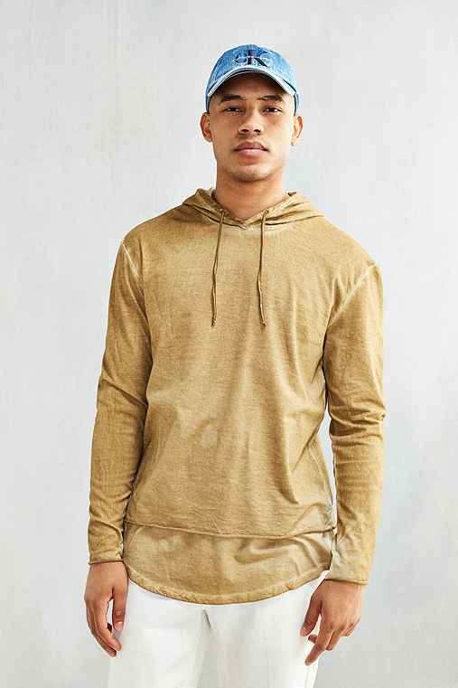 Feathers Washed Double Layer Hooded Long-Sleeve Tee,HONEY,S