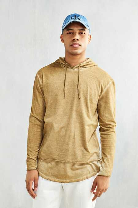 Washed Double Layer Hooded Long Sleeve Tee