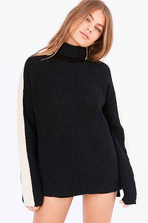 Silence + Noise Racer Stripe Turtleneck Sweater,BLACK & WHITE,XS