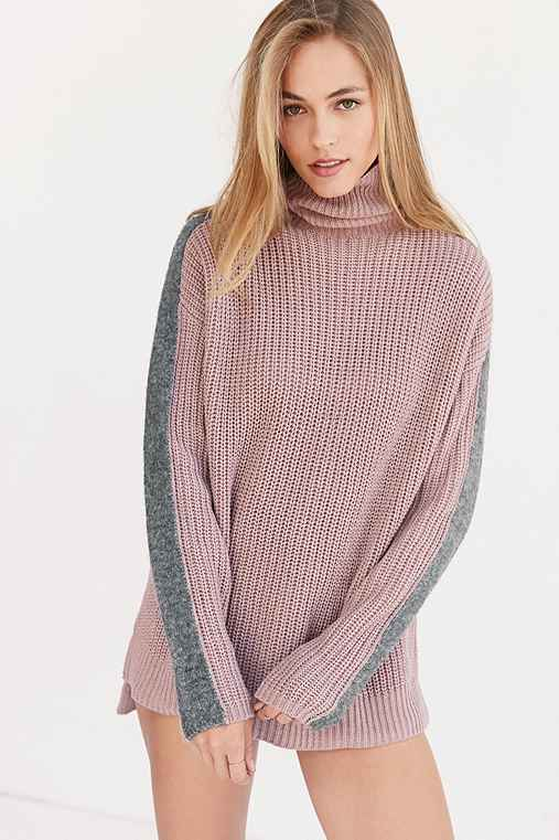 Silence + Noise Racer Stripe Turtleneck Sweater,PINK,XS