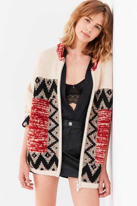 Ecote Harper Patterned Zip-Up Sweater Jacket