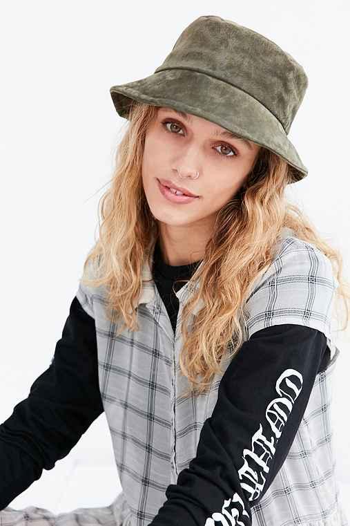 Suede Bucket Hat,OLIVE,S/M