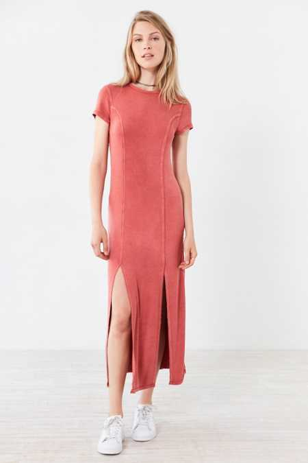 Silence + Noise Cynthia Thigh-Slit Knit Midi Dress