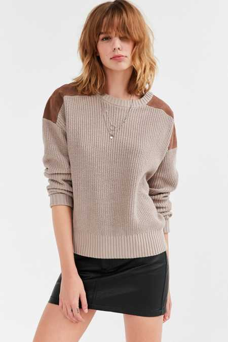 Ecote Sadie Vegan Suede Panel Pullover Sweater