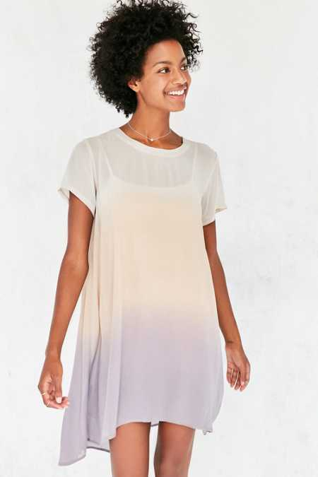 Silence + Noise Sonoma Dip-Dye Chiffon T-Shirt Dress
