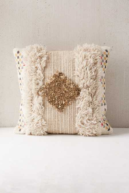 Woven Sequin Tufted Pillow
