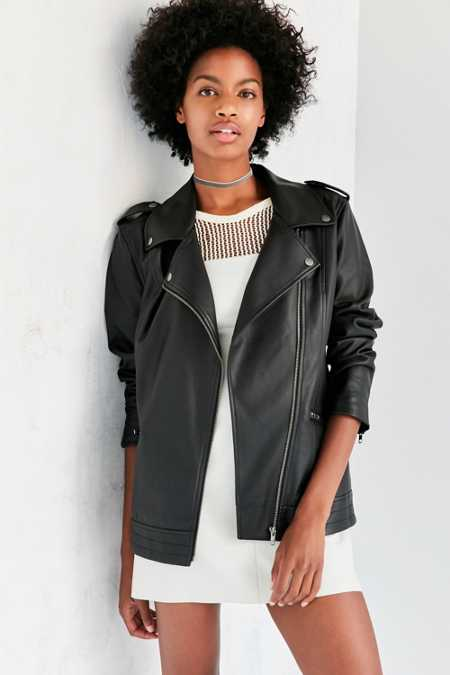 Silence + Noise Off Duty Oversized Vegan Leather Moto Jacket