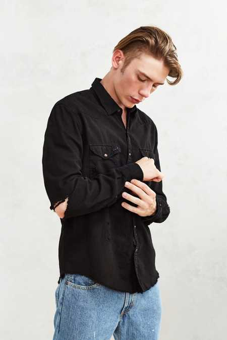 CPO Overdyed Damaged Denim Western Shirt