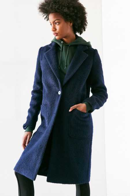 Silence + Noise Fuzzy Brushed Longline Coat