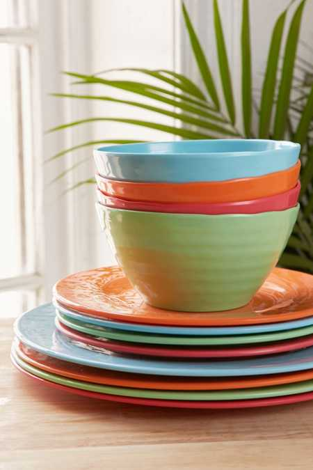 12-Piece Bright Solids Melamine Dinnerware Set