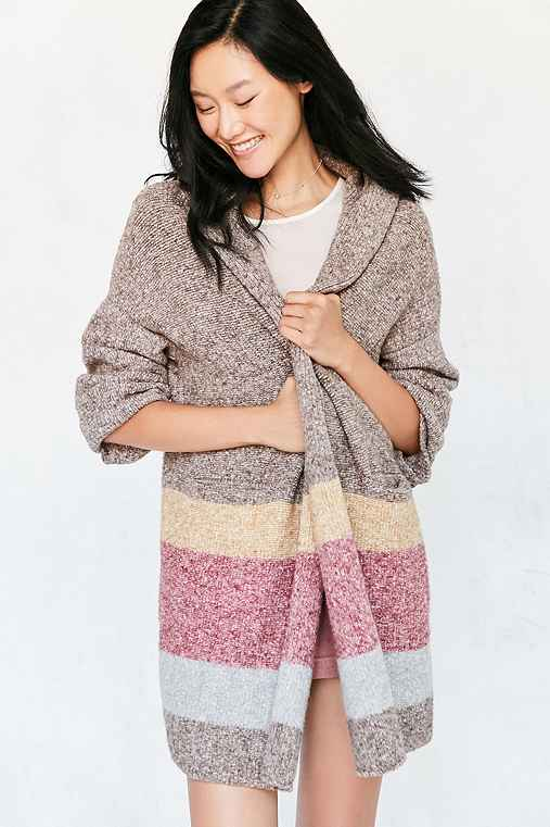 Silence + Noise Hooded Open Cardigan,LIGHT BROWN,XS/S