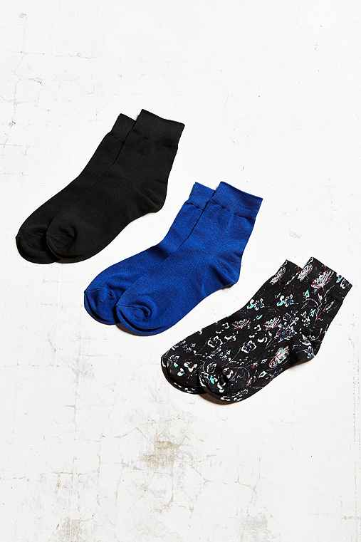 Out From Under Basic Trouser Sock 3 Pack,BLACK MULTI,ONE SIZE