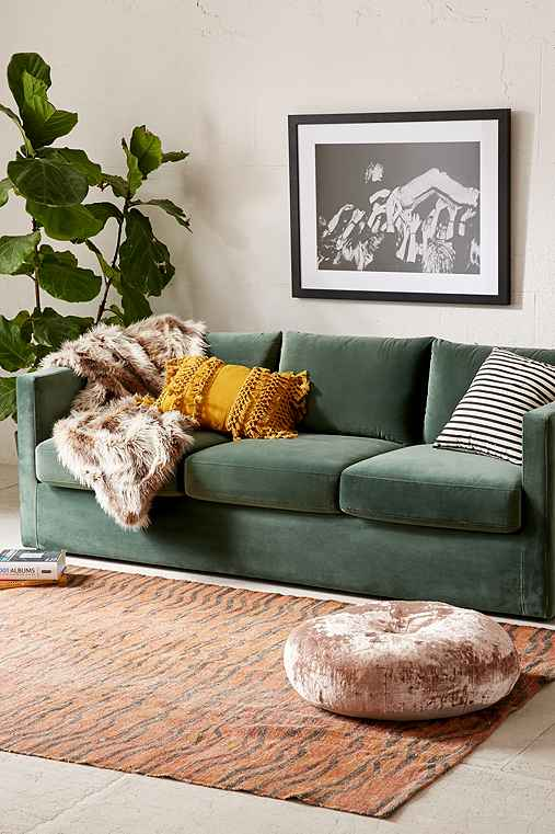 Melanie Velvet Sofa,DARK GREEN,ONE SIZE
