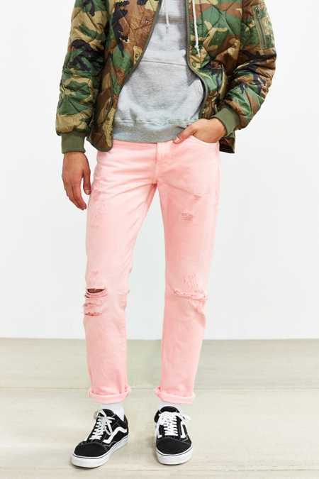 Overdyed Pink Destructed Levi's 511 Slim Jean