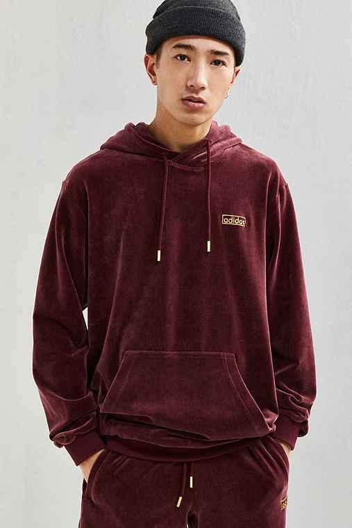 adidas Velour Hoodie Sweatshirt,MAROON,S