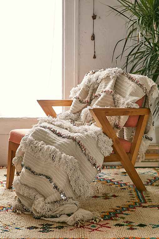 One-Of-A-Kind Moroccan Wedding Blanket,IVORY,ONE SIZE